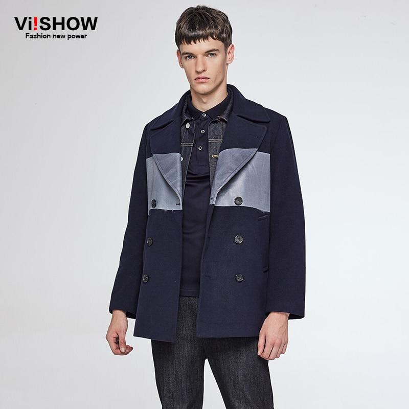 VIISHOW Winter Jacket Trench Coat Men Thin Slim Fit Mens Brand Double Breasted Male Windbreaker Jacket Partchwork Men FC42064