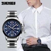 Skmei marca masculina vestido relógios de luxo da marca superior multifunções esportes relógio quartzo à prova dwaterproof água relogio masculino