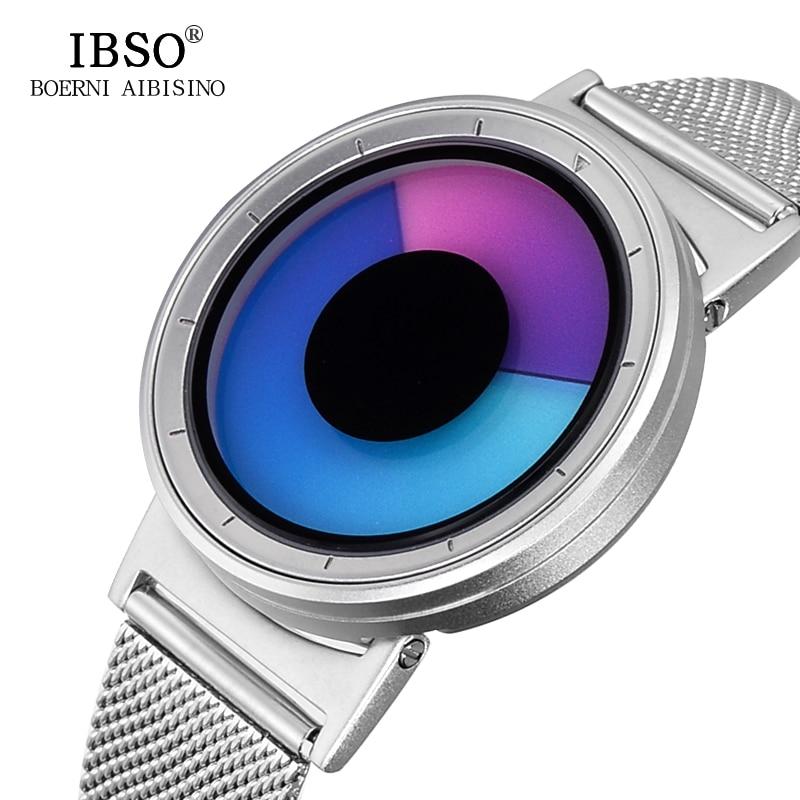 IBSO 2019 Brand Creative Hide Watch-head Quartz Sport Watch Men Steel Mesh Strap Fashion Men Watch Waterproof Relogio Masculino