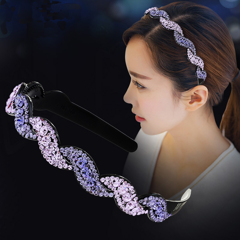 Luxury CZ Crystal Hairbands Girl Sweet Hair Accessory Rhinestone Twist Headbands Full Crystal Broadside Headwear Gift