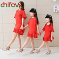 Chifave 2016 Nueva Madre e Hija Madre Resorte de la Ropa de Verano y Niñas Vestido de Manga Corta Negro Rojo Color de Ocio Familiar vestido