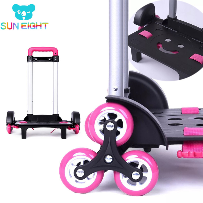 SUN EIGHT 2019 Smile Face Children 6 Wheels Expandable Trolley Rod High Function Trolly Luggage For Backpack Kids