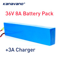 36V 10S4P 8AH High power 500W 18650 lithium battery Electric bike battery with PVC case for electric bicycle 42V 3A charger