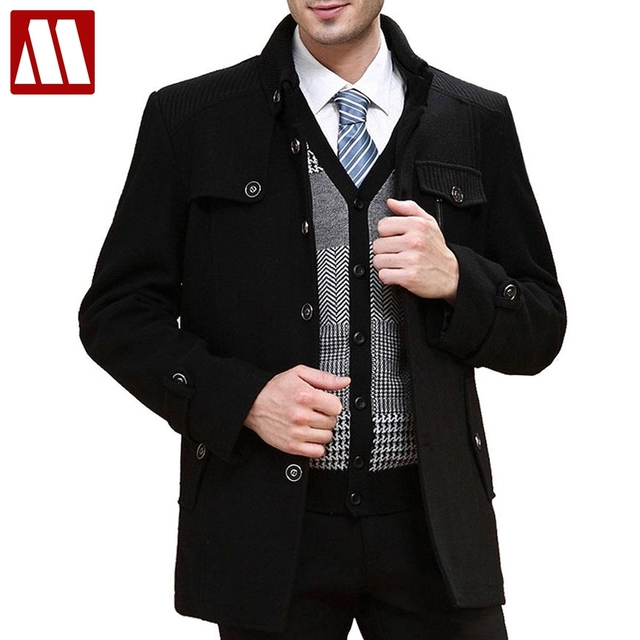3251acd848c 2017 fashion men s wool coats plus size XXXL long wool winter Coat brand  pea trench coat autumn overcoat men drop shipping