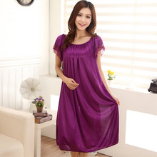 Silk Nightgowns Women Sleepshirts Spring and Summer , Ms. Suspenders Sexy Lace Silk Nightgown Household Pijamas Mujer