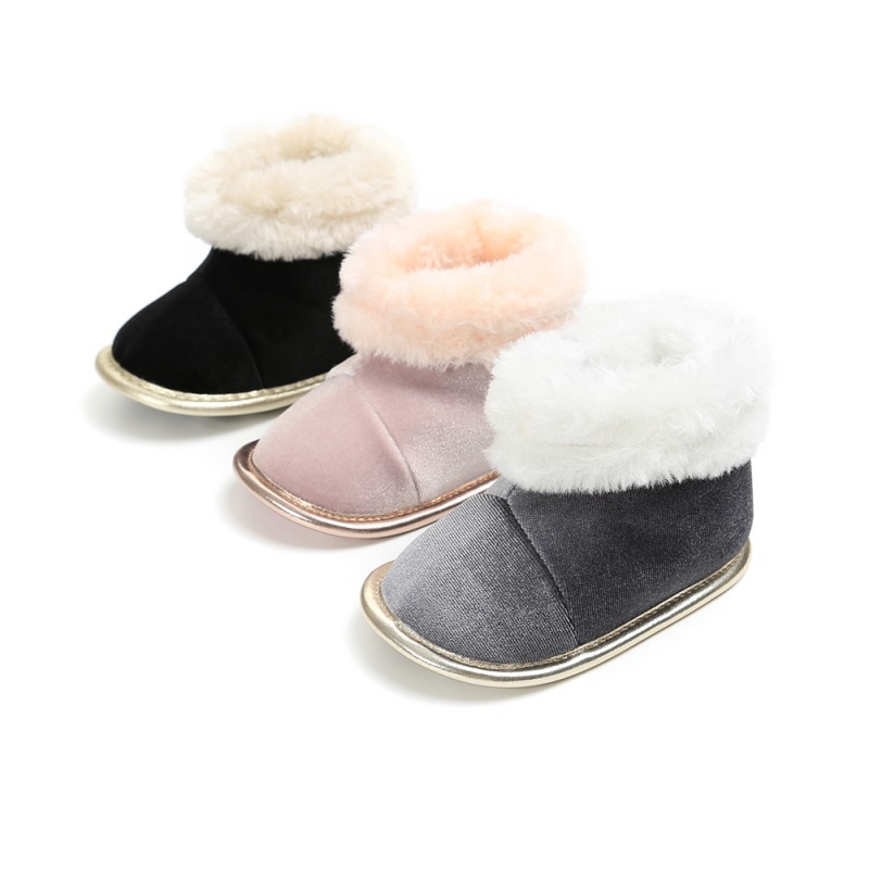 Hot Winter Warmborn Baby Girls Princess Winter Boots First Walkers Soft Soled Infant Toddler Kids Girl Footwear Shoes