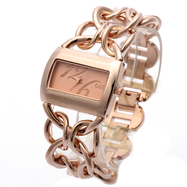 2018 New Fashion G&D Women Watch Rose Gold Stainless Steel Band Analog Bracelet