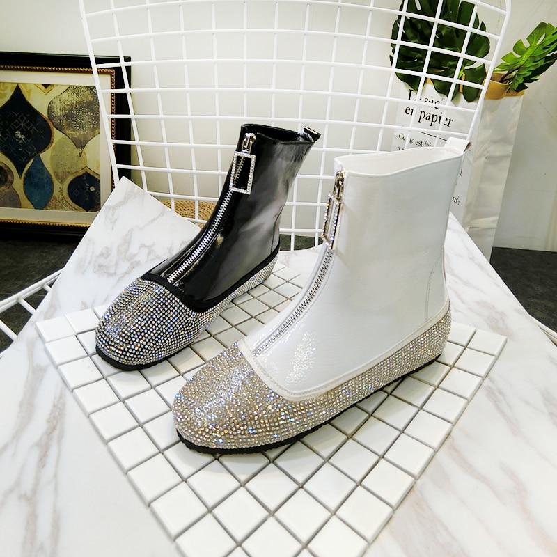 Femme Plat blanc Nouvelle Talons Strass Boot D'hiver Sequin Femmes Court Chaud Hiver Arrivée Bottes 2019 argent Neige Chaussures Tissu or Noir z8qYZwR