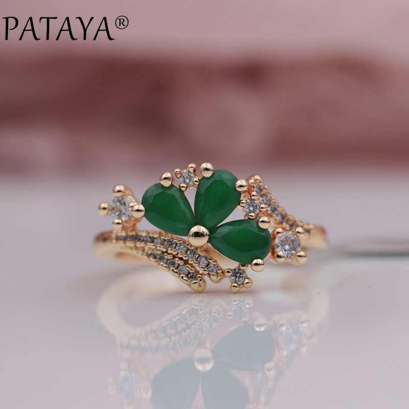 PATAYA New Arrivals 585 Rose Gold Micro-wax Inlay Green Water Drop Natural Zircon Rings Women Wedding Party Fine Trendy Jewelry