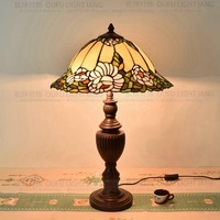 40CM Flowers Tiffany Table Lamp Country Style Stained Glass Lamp for Bedroom Bedside Lamp E27 110 240V