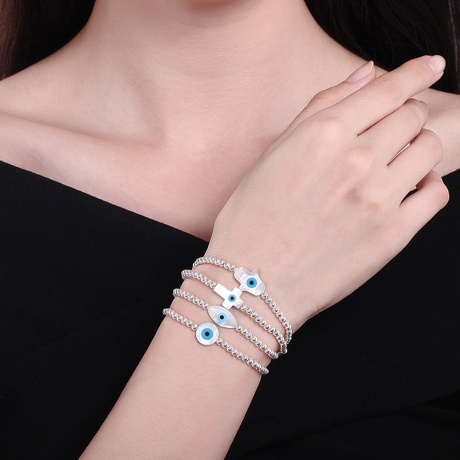 KALETIN Fashion 925 Sterling Silver Pärlor Armband MOP Shell Hamsa Hand Fatima Evil Eye Cross Lucky Turkish Charm Armband