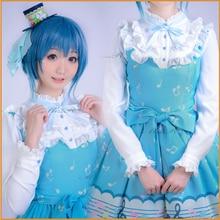 Anime puella magi madoka magica miki sayaka cosplay mujeres lolita dress + bowknot + headwear
