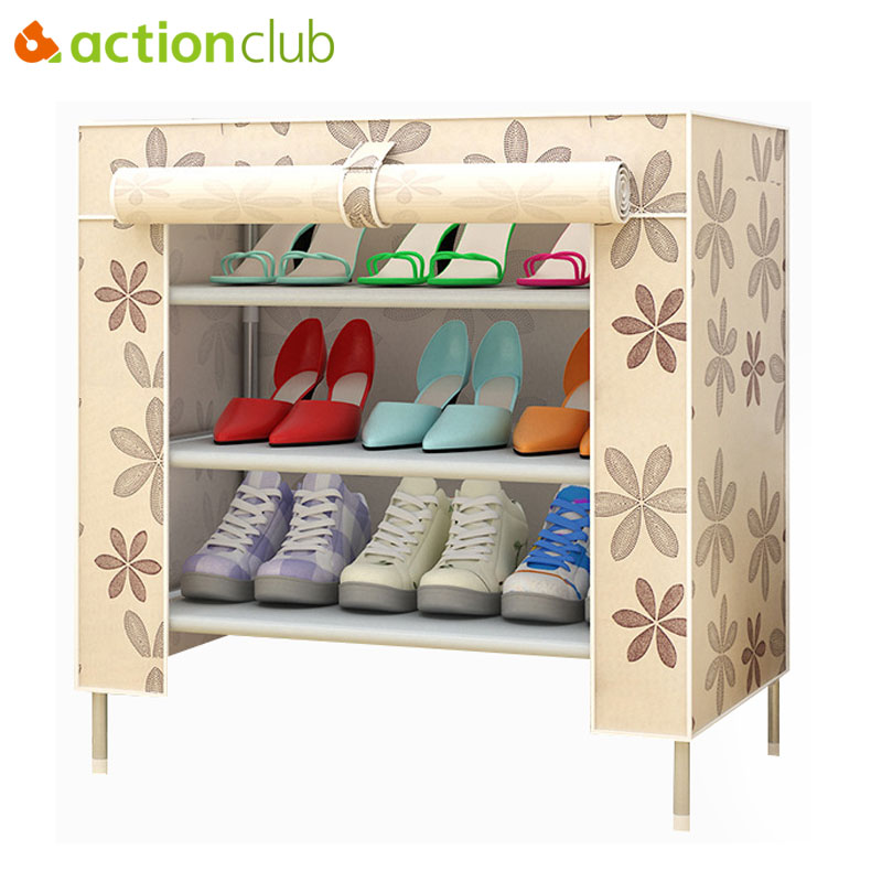 Actionclub Multifunction Storage Shoe Rack 3D Cartoon Pattern Shoe Cabinet Simple Non-woven DIY Shoe Organizer Shelf Furniture
