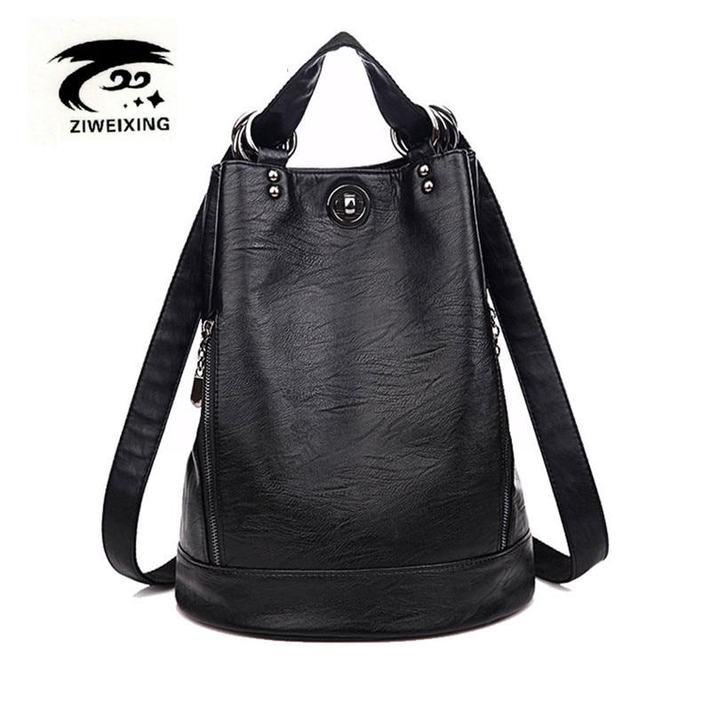 Fashion New Multifunction Women Backpack PU Leather Black Bagpack large capacity Travel Bag Female Rucksack Shoulder bag Mochila