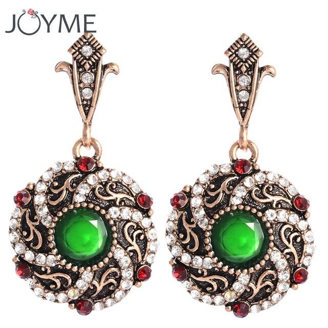 Indien Grüne Harz Kronleuchter Ohrringe Für Frauen Clips Große Blume Bronze  Gold Farbe Aros Bijouterie