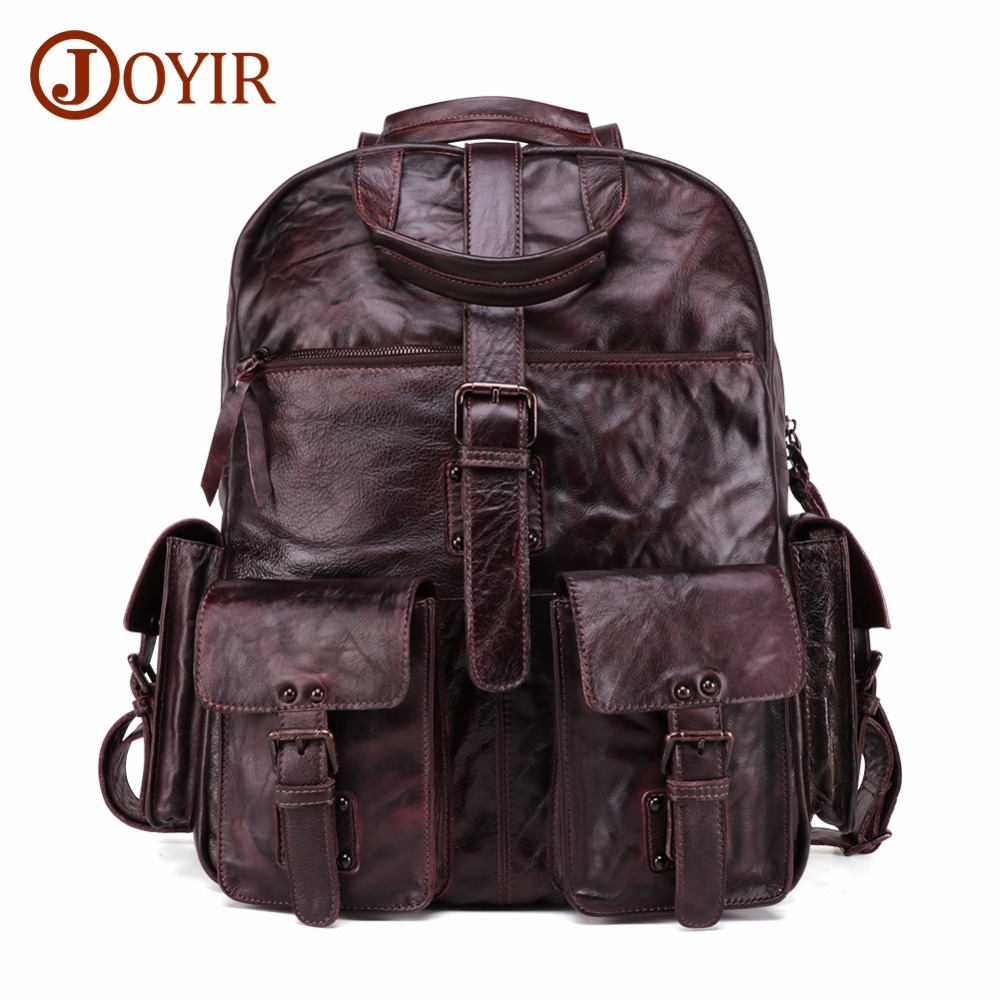 "JOYIR Men's Backpack Geniune Leather 15"" Laptop Bag Vintage Daypack Male Travel Backpack Mochilas Cowhide Men's Bag Shoulder Bag"
