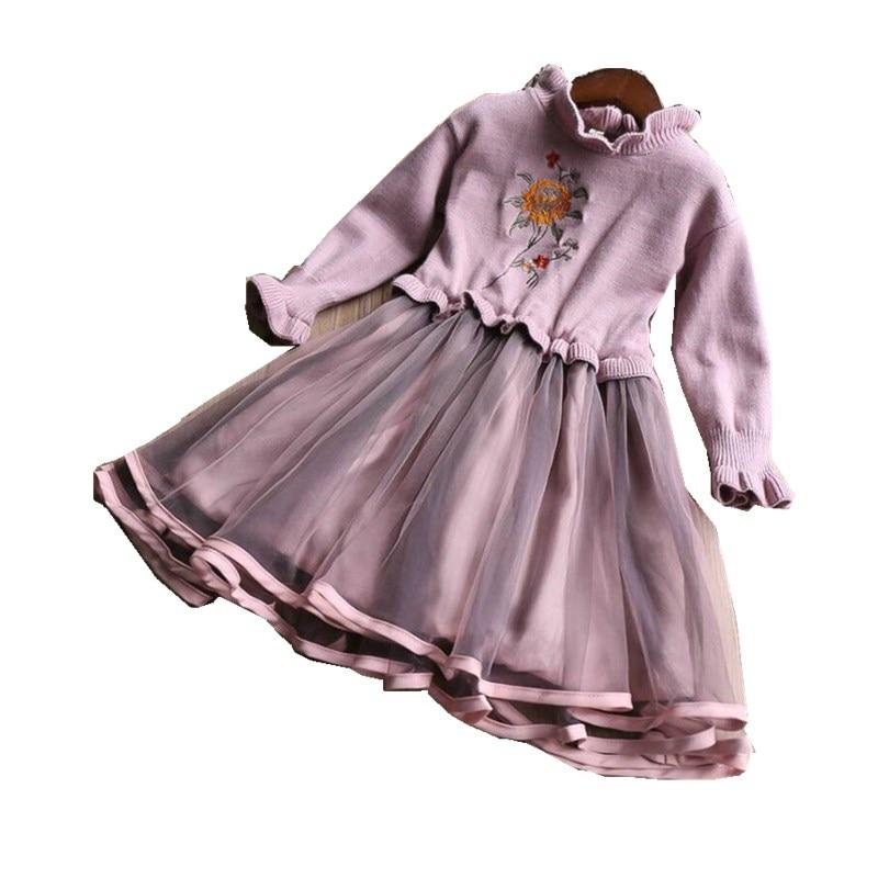 YP31941682 2018 Fashion Winter Dress For Girls Dress Sweater Toddler Full Sleeve Baby Dress Girls Clothes Party Girl Turtleneck turtleneck rib knit dress