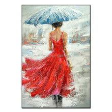 handmade oil painting on canvas red girl modern 100% Best Art dressing original directly from artist