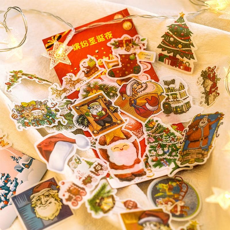 60 Pcs/bag Merry Christmas Night Decoration Paper Sticker DIY Diary Scrapbooking Seal Sticker Kawaii Stationery