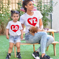 Valentines Summer Family Matching Outfits Short Sleeve Cotton LOVE Matching Family Clothes T Shirt Family Mother