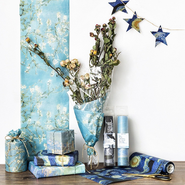 large size Diy 20cm Van Gogh Starry Sky Big Washi Paper For Planner Gift Box Packing Flower Decorative