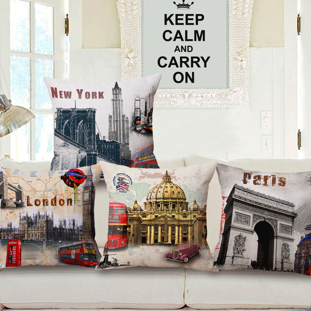 Maiyubo Paris Cushion Covers London Bed Car Floral Hotel