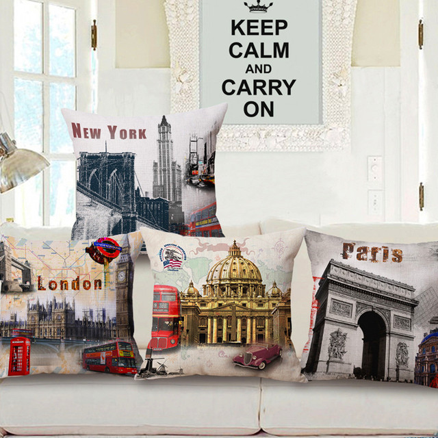 maiyubo paris cushion covers london bed car floral hotel printed linen home decor sofa vintage. Black Bedroom Furniture Sets. Home Design Ideas