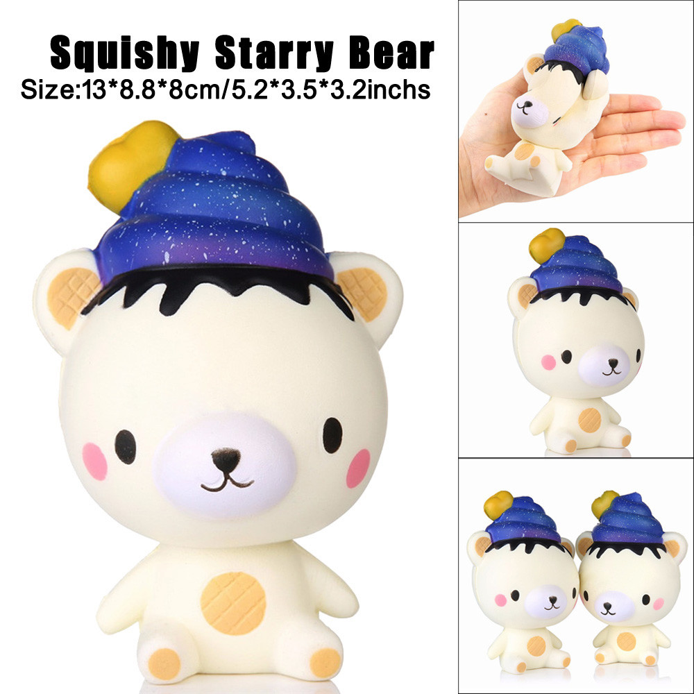 Hot selling New Arrival 13cm Squishy Poo Starry Bear Squeeze Slow Rising Fun Toy Gift Phone Strap Decor JD Loviny