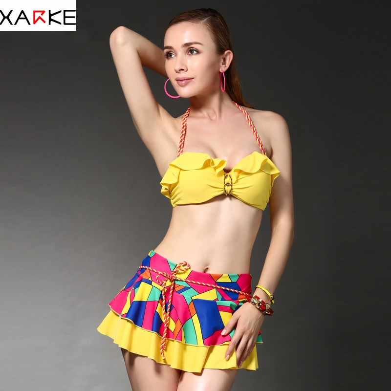 1d16bc83d655d XARKE Ruffle Bikini Women 2018 Sexy Push Up Bikini Skirted Swimsuit Female  Swimwear Halter Bather Swim