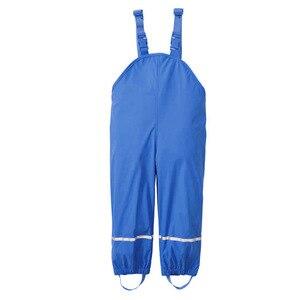 Image 4 - גשם מכנסיים ילדים PU תינוקת כולל עמיד למים בני מכנסיים צהוב כהה כחול פעוט Romper 2020 Chidlren סרבל 1 10 שנים