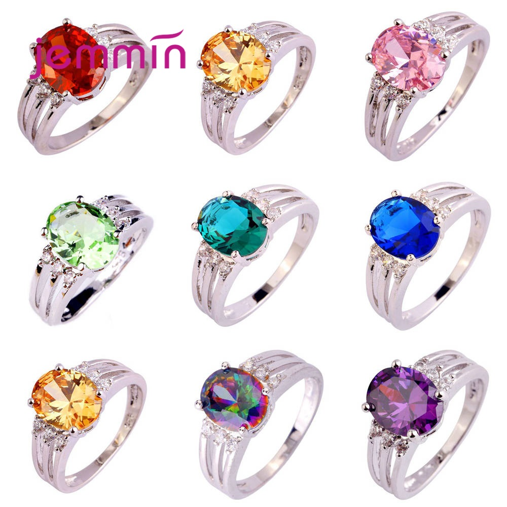 New Fashion 925 Sterling Silver Jewelry Rings For Women Pave Shiny Big Sparkling Cubic Zirconia Pretty Wedding Anniversary Coupl
