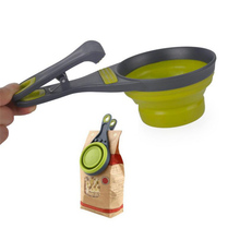 Sealing Clip Food Storage Collapsible 237ml Pet Cat Dog Food Scoop Spoon Measuring Cup Bag New arrival