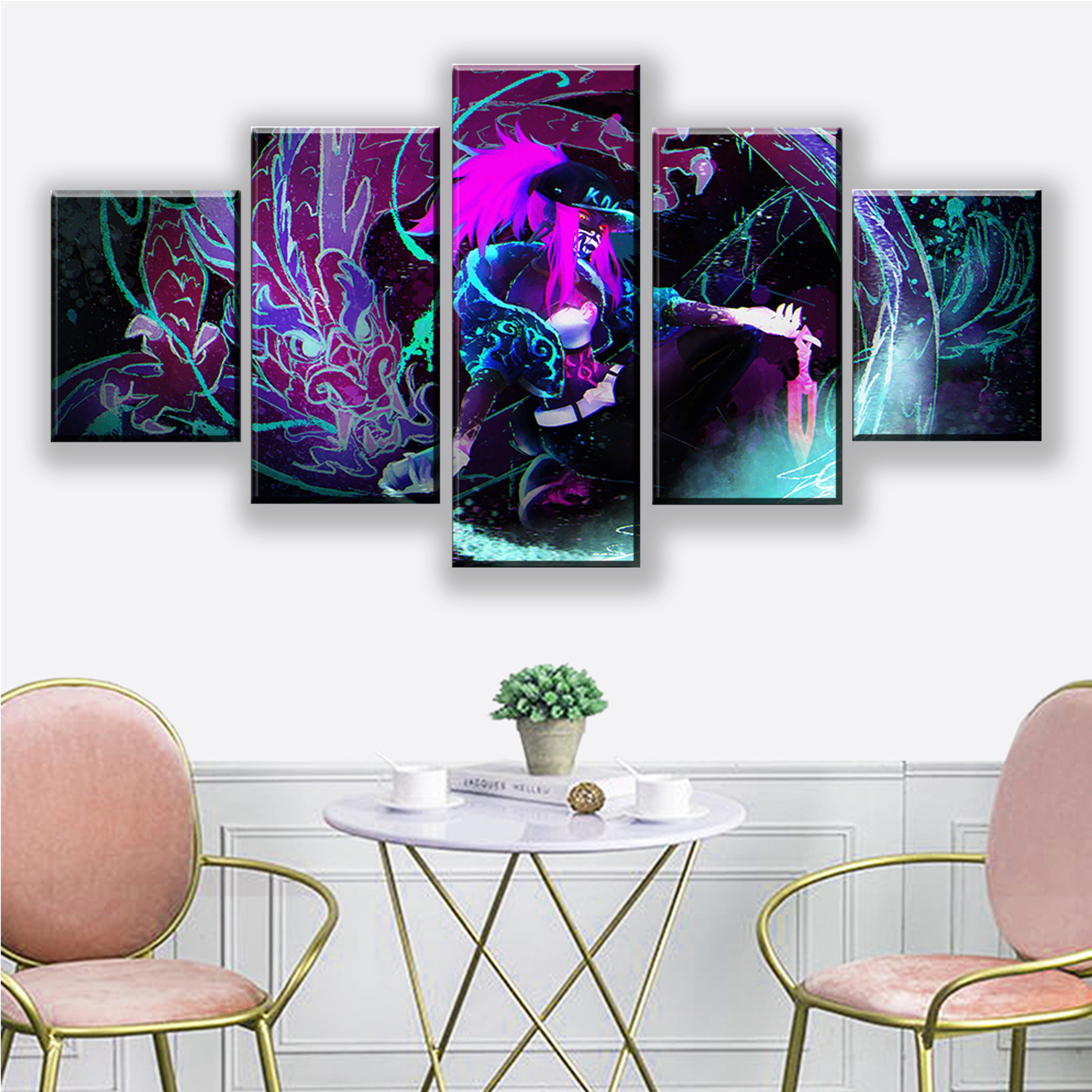 Wall Art Canvas Painting Modular 5 Panel League of Legends LOL KDA Akali Splash Picture Prints Home Decor Poster For Living Room in Painting Calligraphy from Home Garden