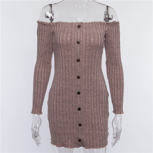Ins Fashion Kyliejenner Dresses Women 2018 Autumn Sexy Off Shoulder Women Knitted Sweater Dress Casual Long Sleeve Stretch Dress 4
