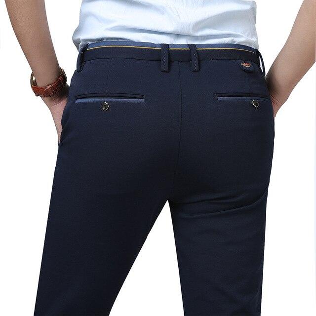 afb2d8046db0 2018 New Mens Pants Cotton Slant Pocket Slim Straight Trousers Elasticity  Stretch Fashion Pants Business Casual