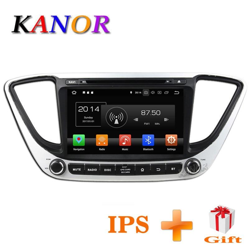 KANOR IPS Android 8.0 Octa Core 2din Autoradio Pour Hyundai Solaris Verna 2017 Navigation Radio Audio Vidéo Lecteur GPS multimédia