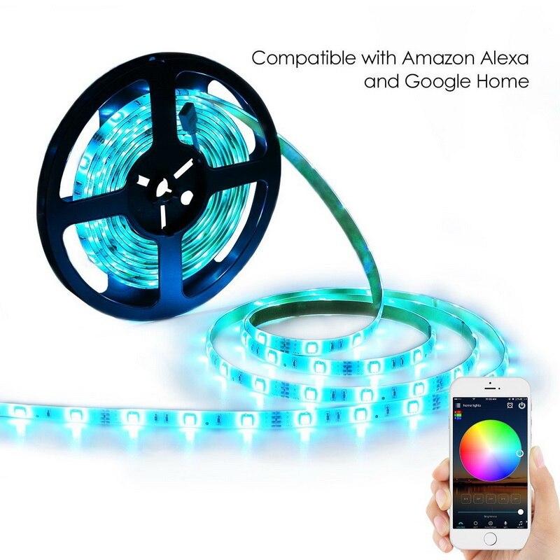 HTB1iJ5YpHSYBuNjSspfq6AZCpXaN 5M WiFi Bluetooth LED Strip DC 12V SMD 5050 Non waterproof Flexible RGB Tape Ribbon Light Works With Amazon Alexa Google Assist