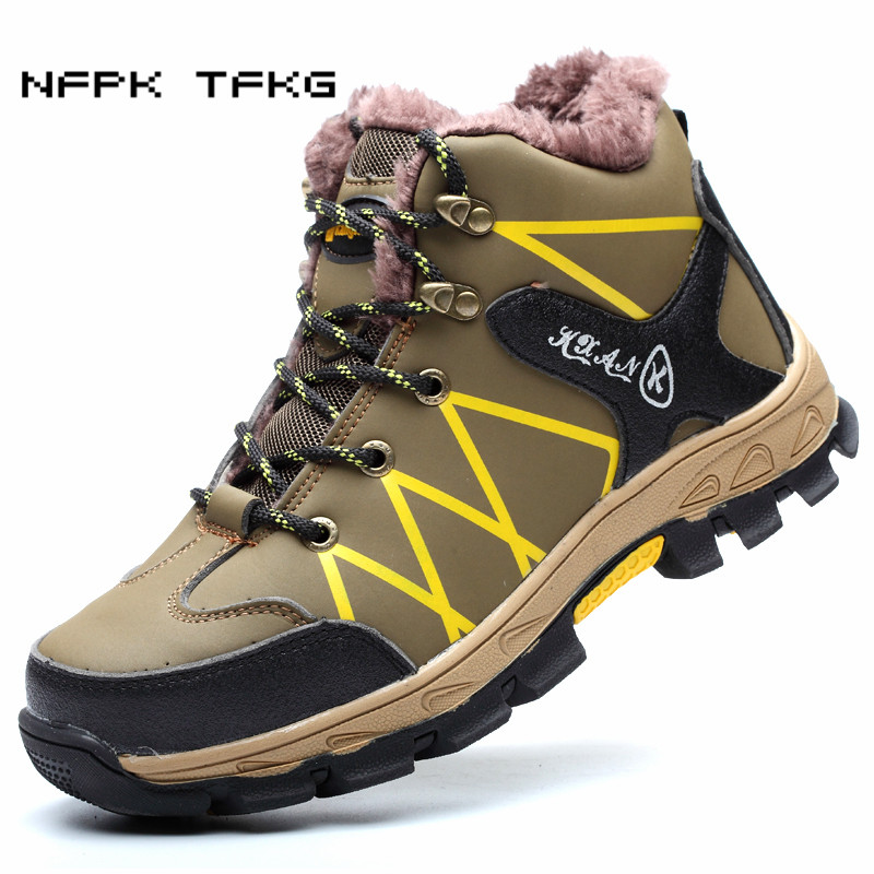 big size men fashion steel toe covers working safety warm fur cotton-padded shoes plate platform winter plush snow ankle boots
