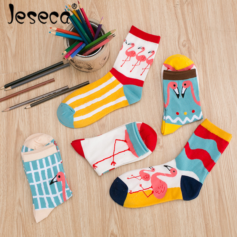 1 Pcs Cartoon Funny   Sock   for Women Korean Kawaii Combed Cotton   Socks   School Students Cute Girl Autumn 5 Colors
