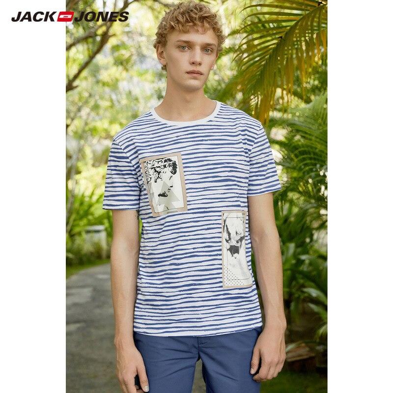 JackJones Men's 100% Cotton Printed Short-sleeved T-shirt Beach Style E|219101532