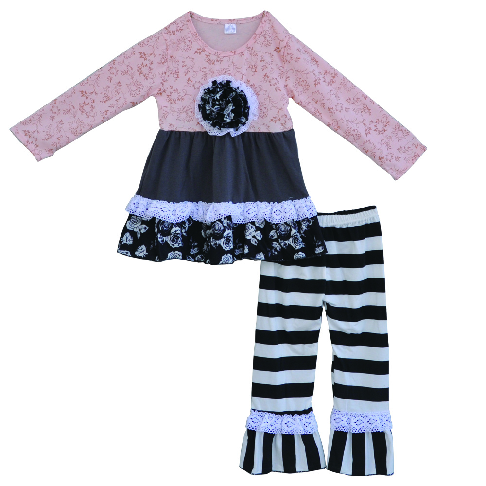 Search on aliexpress by image 2017 spring pink toddler girl clothing set flower print dress black and white striped pant 2 piece kid clothes outfits f129 dhlflorist Gallery