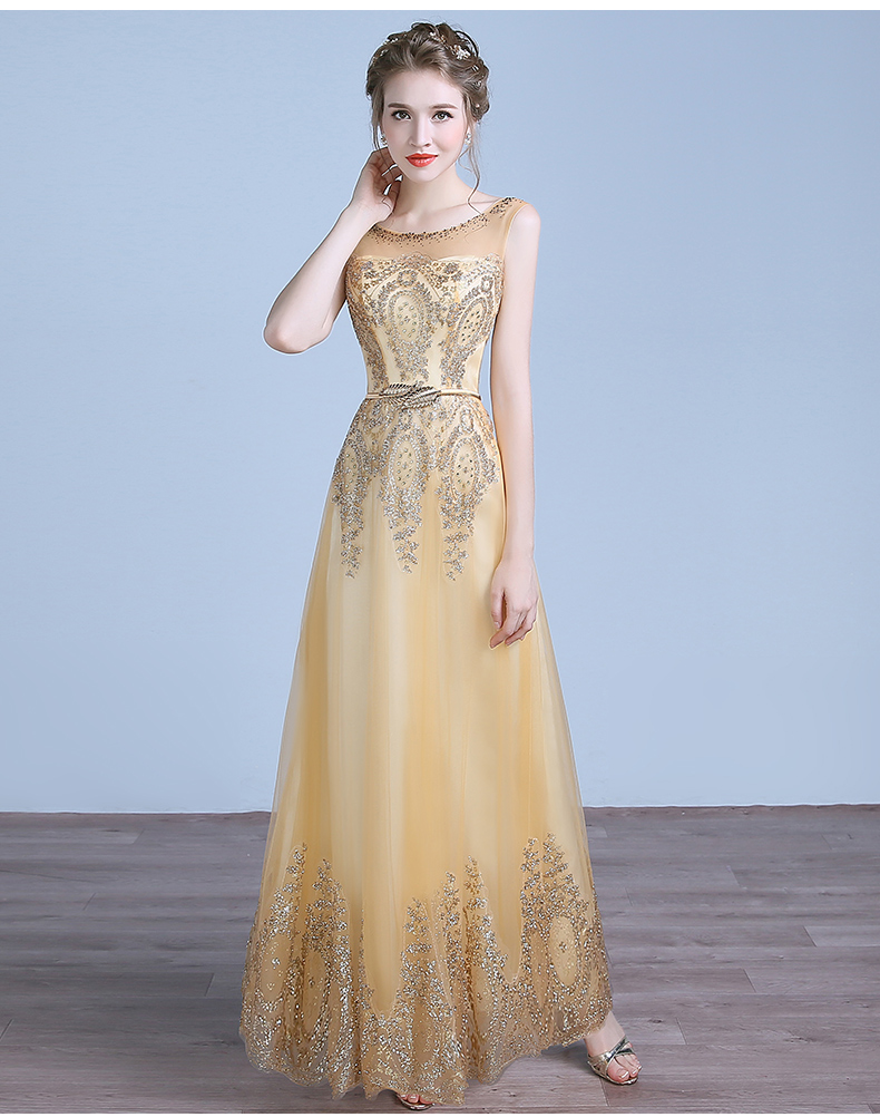Robe De Soiree Longue 2016 Luxurious Golden Beading Sexy Backless Long Party font b Dresses b