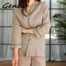 Genuo New One Size Women Autumn Spring Long Set Japanese Style Cotton Linen Comfortable Pyjamas Night Wear Sleepwear Homewear
