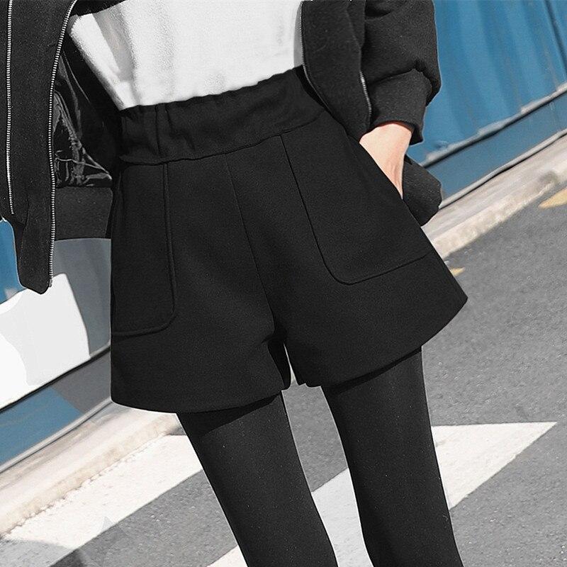 Autumn Winter Woolen Shorts Women Loose Wide Leg High Waist Shorts Feminino Classic Casual Thicken Plus Size Short Femme Q715 Шорты