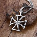 Mprainbow Mens Necklace Stainless Steel Vintage Hollow Maltese Iron Cross Pendant Necklace Knights Templar Cross Fashion Jewelry