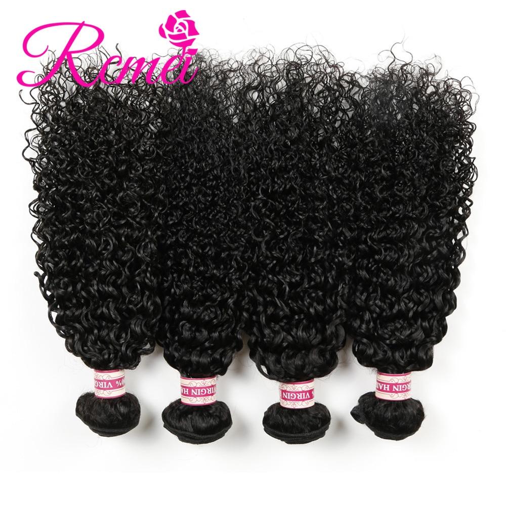 Rcmei Hair Mongolian Hair Kinky Cruly 4 Bundles Human Hair Extensions Virgin Hair Weave Bundles Natural Color 12-30 Inch
