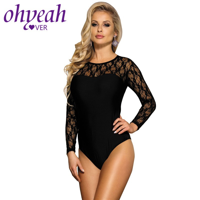 Ohyeahlover Sexy Lingerie Bodysuit Black Plus Size Woman Body Mujer Transparent Body Suit Femme Sexy Long Sleeve Teddy RM8037