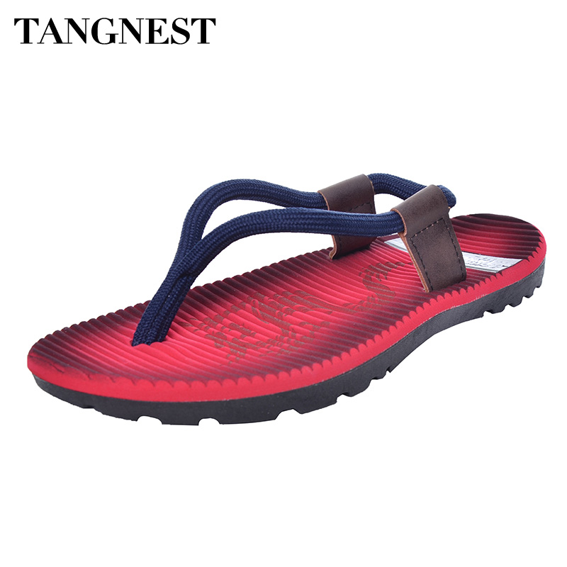 Tangnest Summer Men Flip Flops 2017 Nye Cross Rope Flat Sandaler Mand Beach Slippers Fashion Soft Bottom Summer Shoes Man XML139