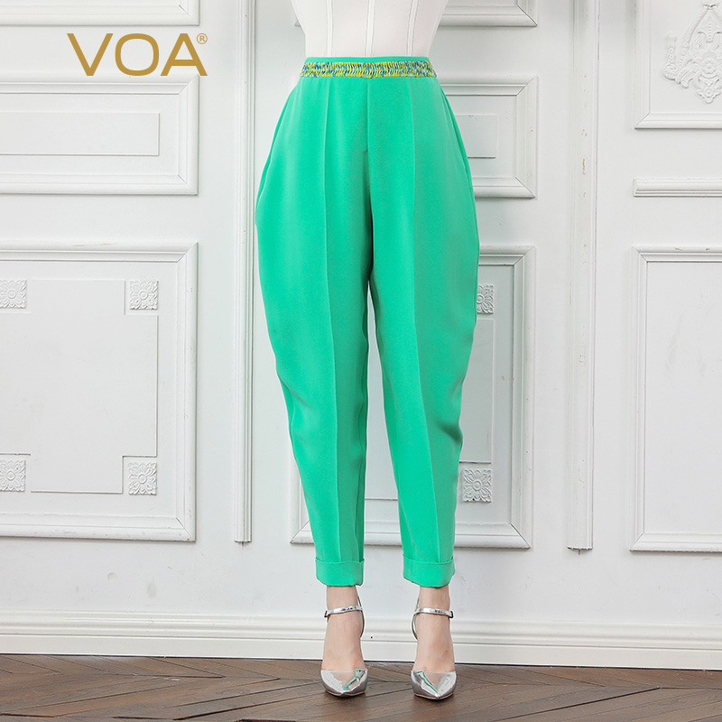 Rococó Largo Harén Tamaño Verde Básico Mujeres Dulce Otoño Seda Pantalón Pesados Gran Cintura Casual Damas Menta Hierba Voa K769 De Pantalones Mediados wqfHxWpg