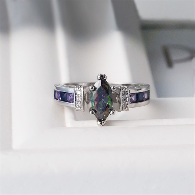 Marquise Shape Purple 925 Silver Ring 3